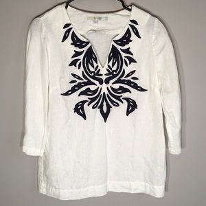 Boden Embroidered Linen Tunic Top